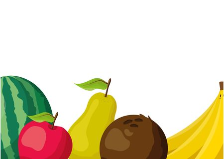 tropical fruits background pear coconut apple banana watermelon vector illustration