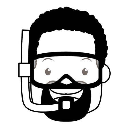 summer time man wear mask snorkel vector illustration Illustration