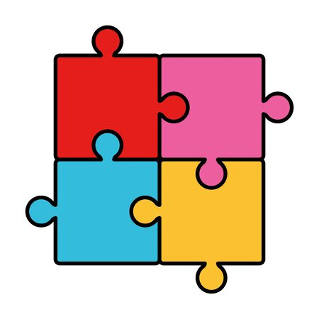 puzzle game pieces solution icons vector illustration design Illusztráció