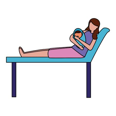 mom with baby in clinic bed pregnancy and maternity scene flat vector illustration