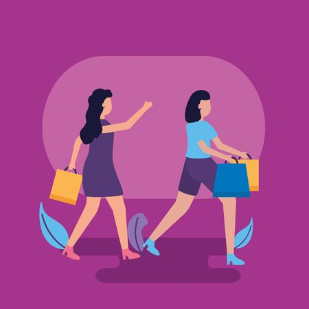 girl with shopping bags leaves decoration vector illustration