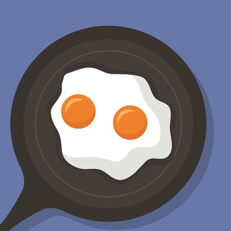 breakfast cooking fried eggs delicious vector illustration Stockfoto - 129749880