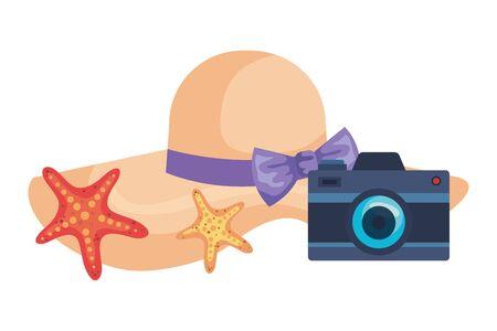 summer female hat with camera and starfish vector illustration design Illustration