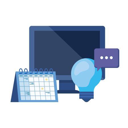 Computadora de escritorio con recordatorio de calendario, diseño de ilustraciones vectoriales