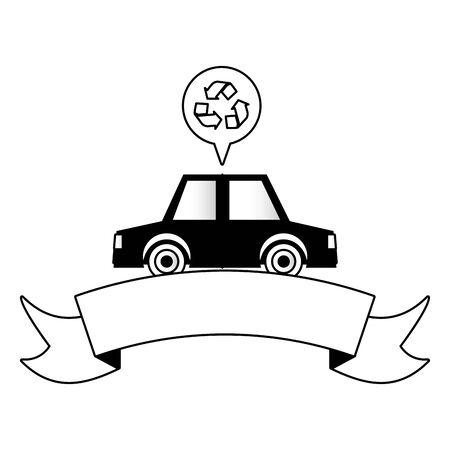 car vehicle transport eco friendly environment vector illustration Illustration
