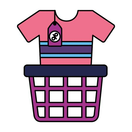 online shopping ecommerce basket and clothes vector illustration Standard-Bild - 129749887