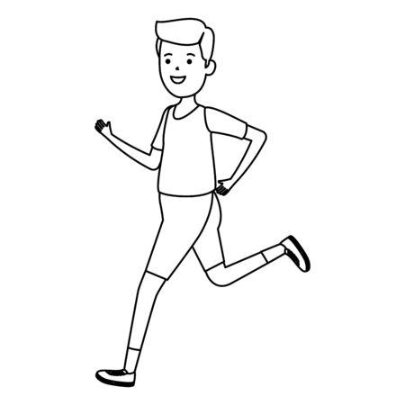 happy athletic boy running sport vector illustration design Ilustracja