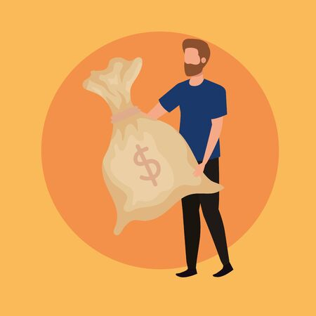 young man with dollars bag character vector illustration design 일러스트