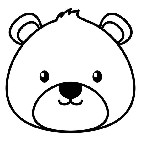 toy bear face on white background vector illustration