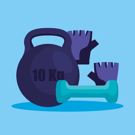 weight with dumbbell and gloves to fitness lifestyle over blue background, vector illustration