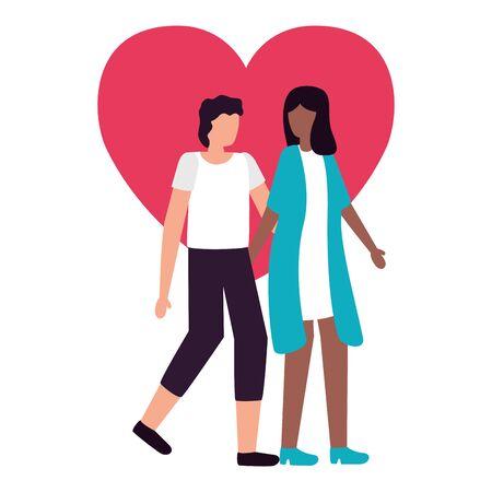 couple holding hand romantic love flat design vector illustration Ilustrace