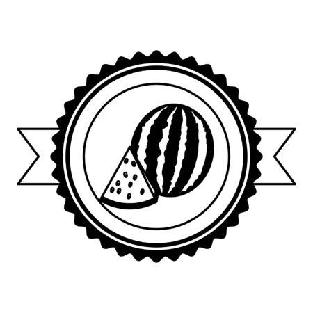 watermelon tropical fruits sticker design vector illustration
