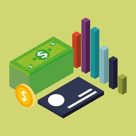 Het ontwerp van het geldpictogram, de betaling van de financiële itemhandelsmarkt investeert kopen en economiethema Vectorillustratie