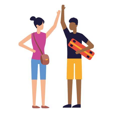homme, à, skateboard, et, femme, poignée main, vecteur, illustration Vecteurs