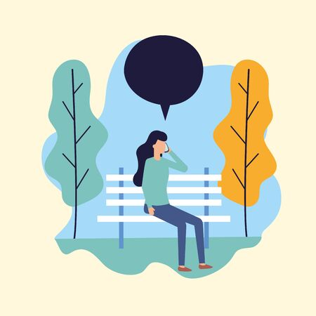 woman using smartphone sitting bench park talking bubble vector illustration