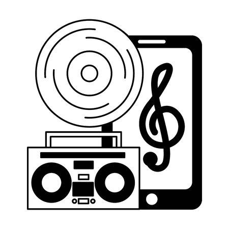 smartphone vinyl boombox stereo festival music vector illustration