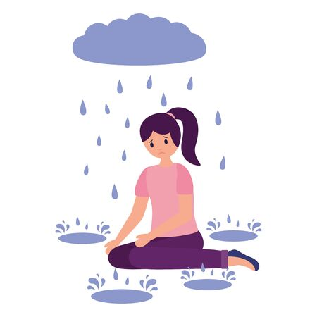 sadness girl rain drops disappointed and depressed vector illustration 写真素材 - 129750127