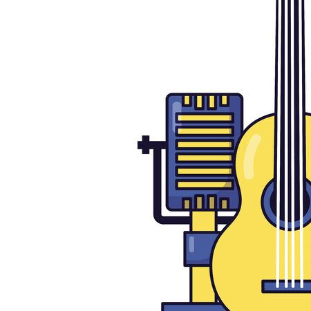 microphone and guitar music festival vector illustration