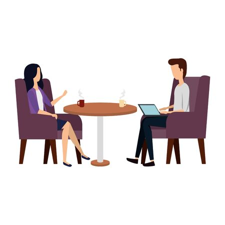 business couple working with laptop in livingroom vector illustration design