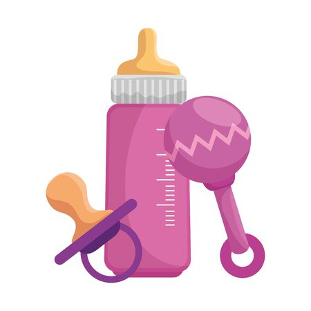 baby milk bottle with pacifier and maracas vector illustration design Standard-Bild - 129733321