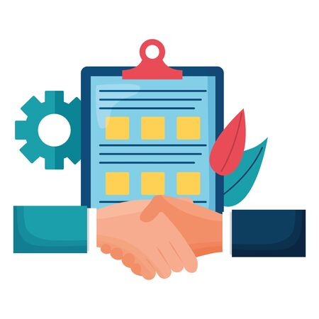 hands business done deal with checklist vector illustration design