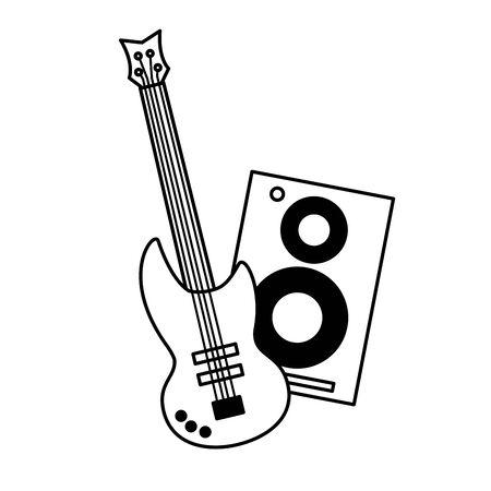 speaker and guitar music background vector illustration Banque d'images - 129750139