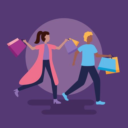 man and woman carry shopping bags vector illustration 向量圖像