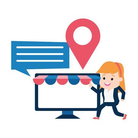 businesswoman online payment computer ecommerce vector illustration Illusztráció