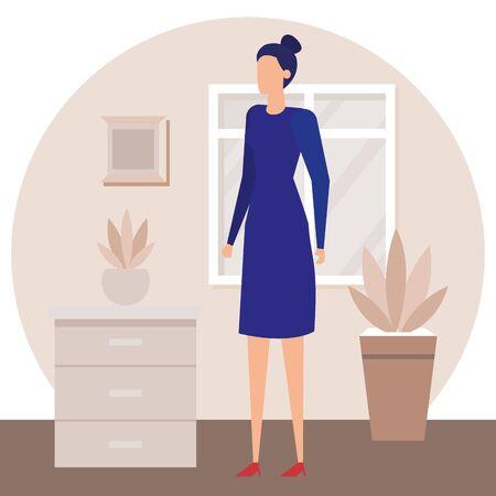 businesswoman worker in the house corridor vector illustration design Çizim