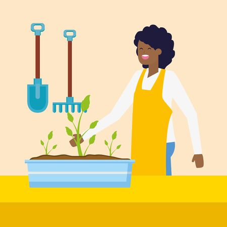 woman plants in pot and tools gardening vector illustration