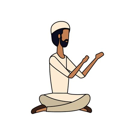 islamic man seated praying with traditional clothes vector illustration design