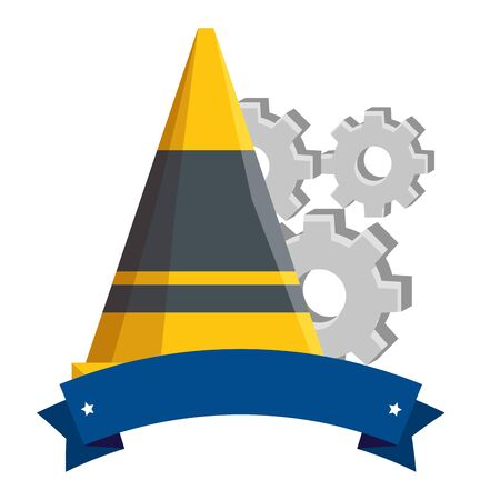 construction cone tool with gears machine vector illustration design