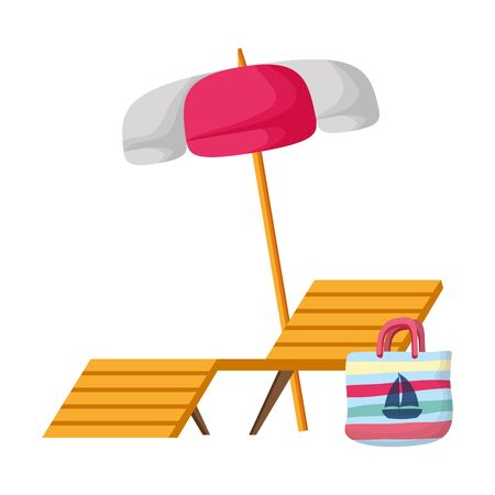 summer time deck chair umbrella and bag vector illustration Foto de archivo - 129750292