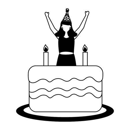 happy woman with cake birthday celebration vector illustration