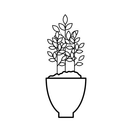 houseplant in pot natural icon vector illustration design