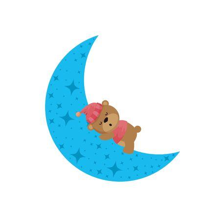 baby shower card with bear teddy sleeping in moon vector illustration design Stock Vector - 129733349