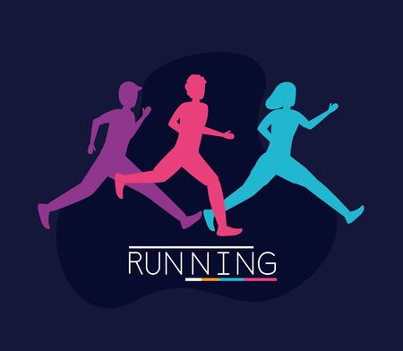 colorful silhouettes people running activity black background vector illustration