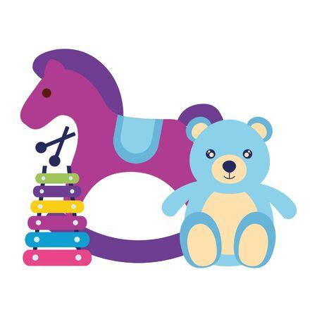 illustrazione vettoriale di giocattoli per bambini xilofono orso cavallo a dondolo Vettoriali