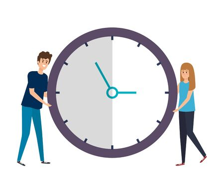 couple lifting time clock watch vector illustration design Stock Illustratie