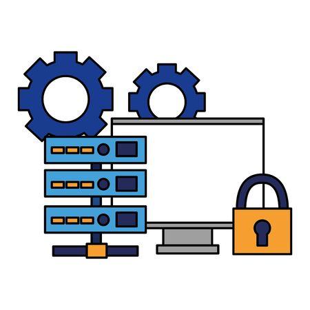 Ilustración de vector de datos de seguridad cibernética de candado de computadora de servidor de base de datos Ilustración de vector