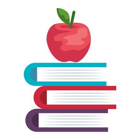 pile textbooks with apple fresh fruit vector illustration design Banco de Imagens - 129733350