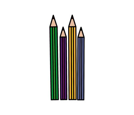 pencils colors study isolated icons vector illustration design