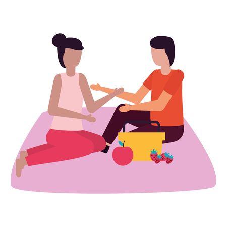couple eating picnic romantic love flat design vector illustration Stock Vector - 129750392