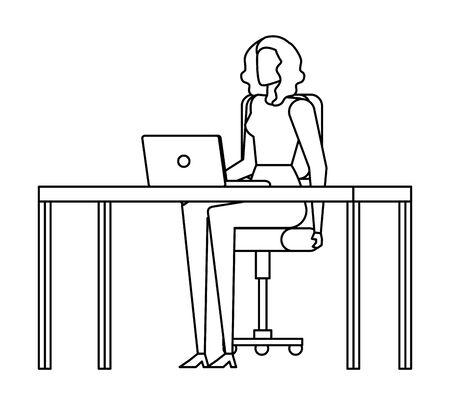 elegant businesswoman worker in the office vector illustration design Çizim