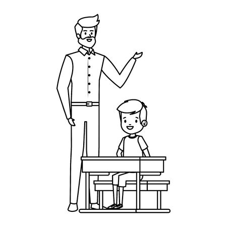 student boy seated in school desk with male teacher vector illustration design Banco de Imagens - 129733360