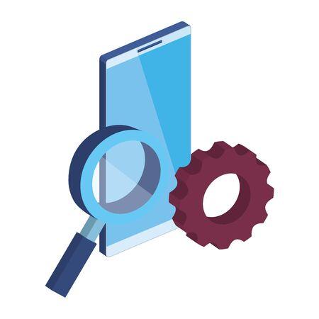 smartphone with magnifying glass and gear vector illustration design Illusztráció