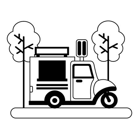 food truck ice cream park street trees vector illustration