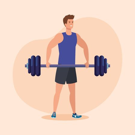 fitness man with weight to healthy exercise over pink background, vector illustration