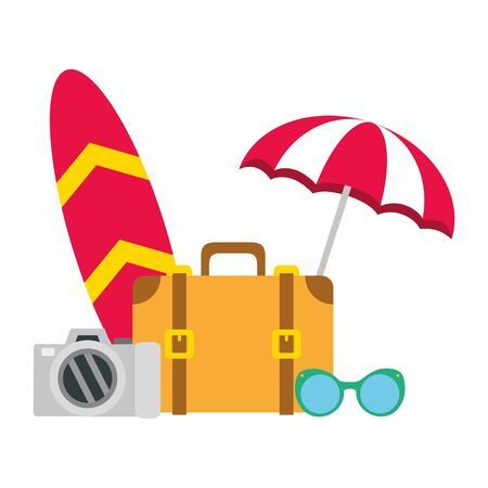 vacations suitcase surfboard umbrella sunglasses camera vector illustration