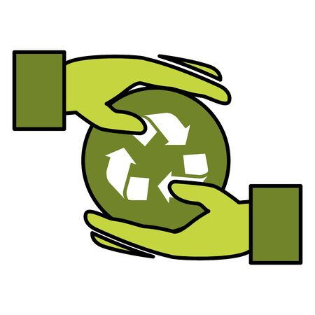 hands recycle eco friendly environment vector illustration